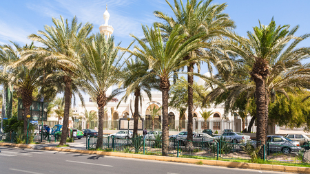 AQABA, JORDAN - FEBRUARY 23, 2012: view of Al Sharif Al Hussein Bin Ali Mosque on King Hussein street in Aqaba city in winter. This Mosque is the main mosque of Aqaba town Editorial