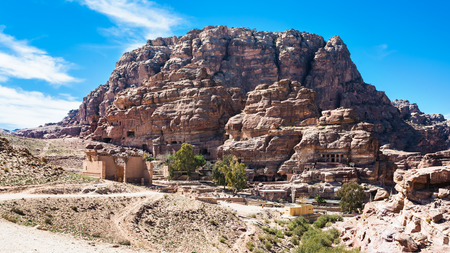 Travel to Middle East country Kingdom of Jordan - view of Temple of Dushares and Unfinished Tomb in Petra town in winter