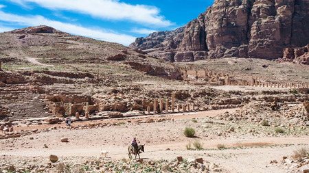 Travel to Middle East country Kingdom of Jordan - view of Colonnade Street and Great Temple in Petra town in winter Stock Photo