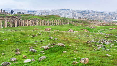 Travel to Middle East country Kingdom of Jordan - view of columns of Cardo Maximus street in ancient Gerasa town and Jerash city in winter