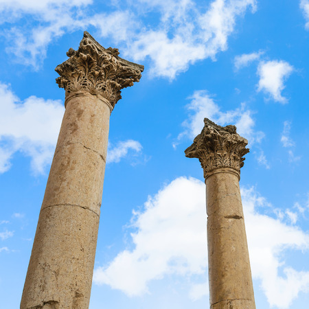 Travel to Middle East country Kingdom of Jordan - two column on Agora ancient market in Jerash (ancient Gerasa) town in winter