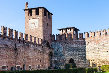 VERONA, ITALY - MARCH 29, 2017 - tourist in inner court of Castelvecchio (Scaliger) Castel in Verona city in spring. Construction of the Caste was carried out between 1354 and 1376.
