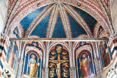 VERONA, ITALY - MARCH 27, 2017: frescoes in Basilica di San Zeno (San Zeno Maggiore, San Zenone) in Verona city. Church was built over the burial place of Veronese bishop San Zeno
