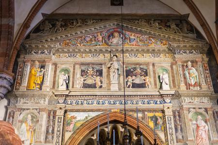VERONA, ITALY - MARCH 27, 2017: indoor decoration of Duomo Cathedral in Verona city (Cattedrale Santa Maria Matricolar, Duomo di Verona). The Church was consecrated on September 13, 1187