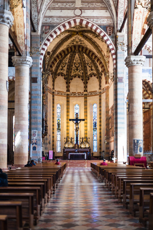 VERONA, ITALY - MARCH 27, 2017: nave of chiesa di Sant Anastasia in Verona city. Sant Anastasia is a church of the Dominican Order in Verona, it was built in 1280 -1400