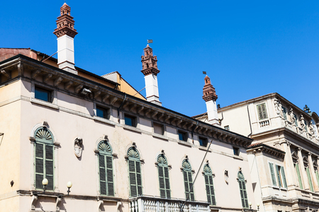 VERONA, ITALY - MARCH 29, 2017: chimney on Palazzo Muselli on Corso Cavour street. The palace was built in the seventeenth century and modified in the nineteenth century in neoclassical style