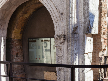 VERONA, ITALY - MARCH 27, 2017: ancient Porta Leoni (Porta San Fermo, Arco di Valerio) in Verona city in spring. This roman gate was part of city wall and it was buit in 50-40 b.c. years. Editorial