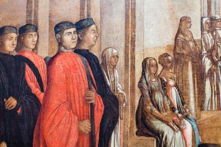베니스, 이탈리아 -2007 년 3 월 30 일 : 베니스에서 갤러리 데코 아카데미아에서 그림. 박물관 갤러리는 19 세기 이전의 예술품을 전시하고 있으며, Scuola della Carita에 보관되어 있습니다.