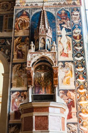 VERONA, ITALY - MARCH 27, 2017: Pulpit with frescoes by Martino di Verona in Chiesa di San Fermo Maggiore in Verona city. This medieval church hold relics of saints Fermo and Rustico