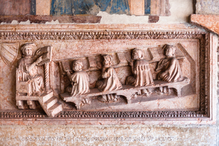 VERONA, ITALY - MARCH 27, 2017: tombstone of the jurist Antonio Pelacani in lower church of Chiesa di San Fermo Maggiore in Verona city. This medieval church hold relics of saints Fermo and Rustico
