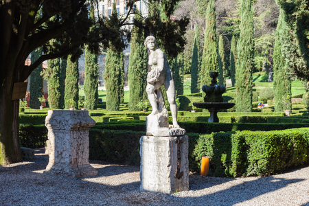 VERONA, ITALY - MARCH 27, 2017 - landscape of Giusti Garden in Verona city in spring. The Giusti Garden is the Italian Renaissance garden , it was planted in 1580.