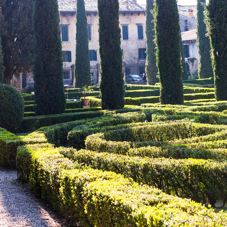 VERONA, ITALY - MARCH 27, 2017 - Giusti Garden (giardino giusti) in Verona city in spring. The Giusti Garden is the Italian Renaissance garden , it was planted in 1580. Editorial