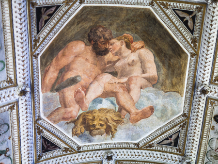 VICENZA, ITALY - MARCH 28, 2017: pictures on ceiling of Palazzo Chiericati in Vicenza city. Since 1855 the building has housed the Museo Civico (City Museum and Civic Art Gallery)