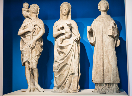 VICENZA, ITALY - MARCH 28, 2017: medieval sculptures in Palazzo Chiericati in Vicenza city. Since 1855 the building has housed the Museo Civico (City Museum and Civic Art Gallery)