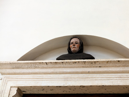 forced: VICENZA, ITALY - MARCH 28, 2017: portal in Chiesa di Santa Corona in Vizenca. Construction of church was begun in 1261 as house a thorn from the crown of thorns forced on Jesus during his passion