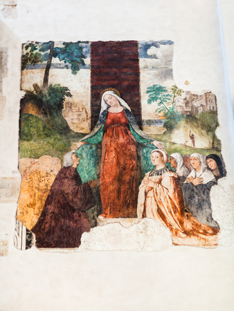 VICENZA, ITALY - MARCH 28, 2017: fresco in Chiesa di Santa Corona in Vicenza. Construction of church was begun in 1261 as house a thorn from the crown of thorns forced on Jesus during his passion Editorial