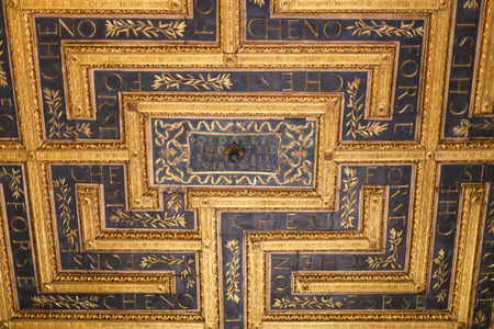 MANTUA, ITALY - MARCH 31, 2017: ceiling decor in Corte Vecchia of Ducal Palace Museum in Mantua city. Ducal Palace boasts more than 950 rooms and gardens, stores and cellars, courts and loggias