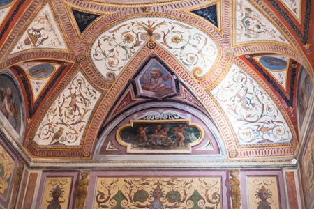 MANTUA, ITALY - MARCH 31, 2017: ornamental ceiling in Corte Vecchia of Ducal Palace Museum in Mantua city. Ducal Palace boasts more than 950 rooms and gardens, stores and cellars, courts and loggias Redakční