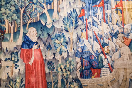 hermits: PADUA, ITALY - APRIL 1, 2017: wall decoration in Musei Civici agli Eremitani (Civic Museum of Hermits) in Padua city. Since 1985 the museums are housed in cloisters of convent of the Friars Hermits