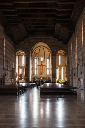 hermits: PADUA, ITALY - APRIL 1, 2017: nave of Church of the Eremitani (Chiesa degli Eremitani, Church of the Hermits) in Padua. It was built in 1276 and dedicated to the saints Philip and James