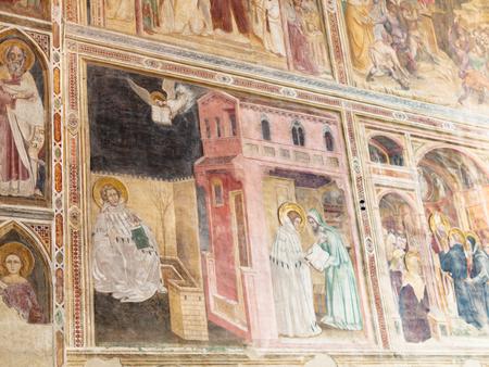 hermits: PADUA, ITALY - APRIL 1, 2017: wall decor in Church of the Eremitani (Chiesa degli Eremitani, Church of the Hermits) in Padua. It was built in 1276 and dedicated to the saints Philip and James Editorial