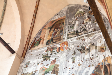 cappella: PADUA, ITALY - APRIL 1, 2017: wall frescoes in Church of the Eremitani (Chiesa degli Eremitani, Church of the Hermits) in Padua. It was built in 1276 and dedicated to the saints Philip and James