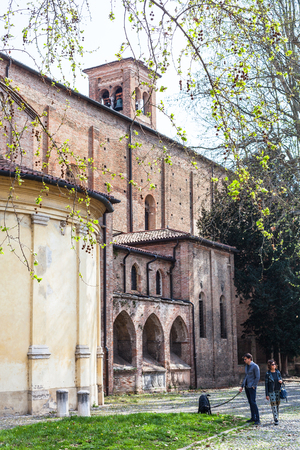hermits: PADUA, ITALY - APRIL 1, 2017: people near Church of the Eremitani (Chiesa degli Eremitani, Church of the Hermits) in Padua in spring. It was built in 1276 and dedicated to the saints Philip and James Editorial