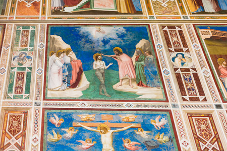 cappella: PADUA, ITALY - APRIL 1, 2017: wall paintings in Scrovegni Chapel (Cappella degli Scrovegni, Arena Chapel). The church contains a fresco cycle by Giotto, completed about 1305. Editorial