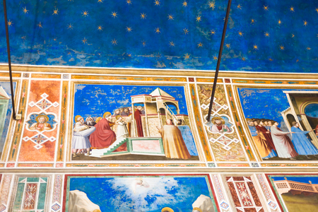 cappella: PADUA, ITALY - APRIL 1, 2017: wall and ceiling frescoes in Scrovegni Chapel (Cappella degli Scrovegni, Arena Chapel). The church contains a fresco cycle by Giotto, completed about 1305. Editorial
