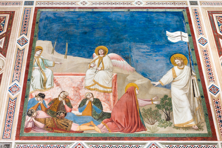cappella: PADUA, ITALY - APRIL 1, 2017: wall picture in Scrovegni Chapel (Cappella degli Scrovegni, Arena Chapel). The church contains a fresco cycle by Giotto, completed about 1305.