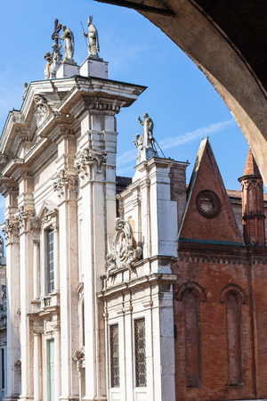 travel to Italy - view of Mantova Duomo Cathedral from loggia of Palazzo Ducale in Mantua city in spring