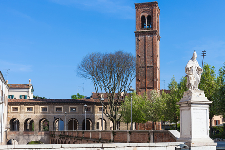 travel to Italy - view of statue on piazza martiri di belfiore and Campanile di San Domenico Mantua city in spring Stock Photo