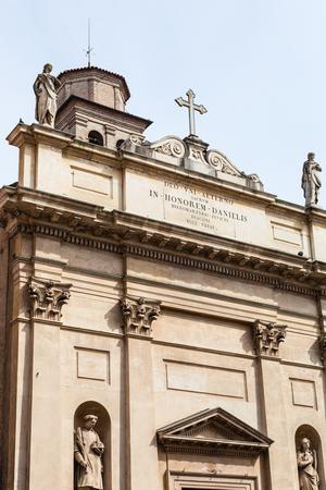 travel to Italy - facade of chiesa di San Daniele Martire on street Via Umberto I in Padua city i Stok Fotoğraf