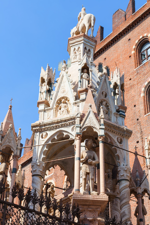 scala: travel to Italy - gothic style tomb of cansignorio in arche scaligere (scaliger family tombs) in Verona city Stock Photo
