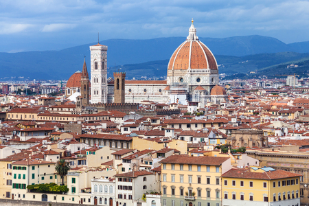 travel to Italy - skyline of Florence town with Cathedral from Piazzale Michelangelo Stock Photo