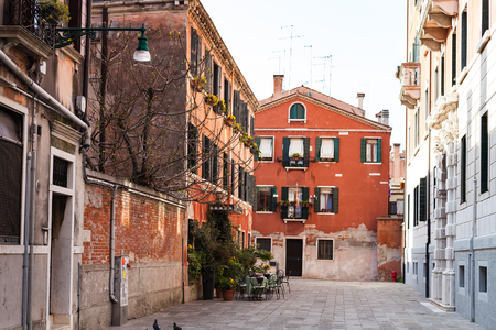 travel to Italy - street Calle Sechera in Venice city in spring Stock Photo