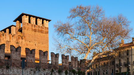 castel: travel to Italy - Castelvecchio (Scaliger) Castel in Verona city in spring evening Stock Photo