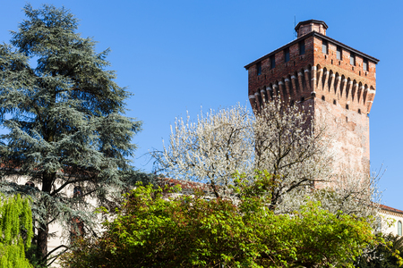 travel to Italy - view of Torre di Porta Castello (Tower of Castel Gate) in Vicenza in spring Stock Photo