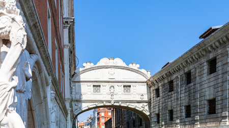 nuove: travel to Italy - view of Bridge of Sighs (Ponte dei Sospiri) over Rio di Palazzo canal in Venice city in spring