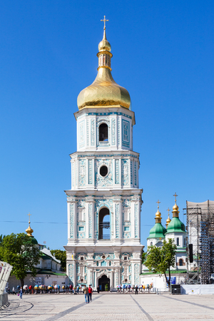 KIEV, UKRAINE - MAY 5, 2017: view of belltower of Saint Sophia Cathedral from St Sophia Square. The cathedral is the first heritage site in Ukraine to be inscribed on the World Heritage List