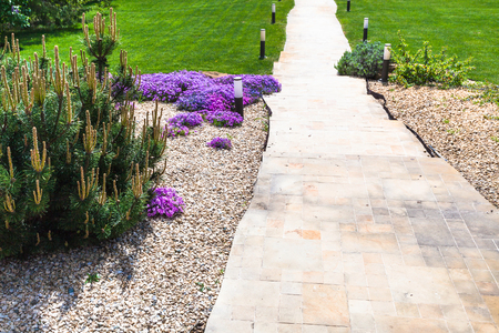 path through alpine garden and sloped lawn on backyard of country house