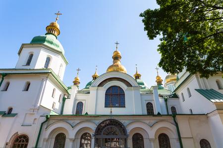sobor: travel to Ukraine - facade of Saint Sophia (Holy Sophia, Hagia Sophia) Cathedral in Kiev city in spring Editorial
