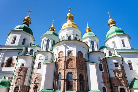 sobor: travel to Ukraine - view of Saint Sophia (Holy Sophia, Hagia Sophia) Cathedral in Kiev city in spring
