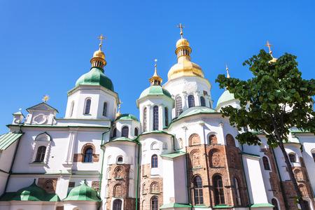 sobor: travel to Ukraine - Saint Sophia (Holy Sophia, Hagia Sophia) Cathedral in Kiev city in springin Kiev city in spring Editorial