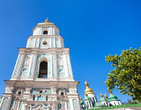 travel to Ukraine - facade of belltower of Saint Sophia Cathedral in Kiev city in spring