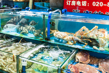GUANGZHOU, CHINA - MARCH 31, 2107: various crabs and prawns on Huangsha Aquatic Product Trading Market in Guangzhou city in spring season. This is the largest fresh water fish market in Southern China