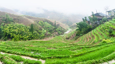 travel to China - view of terraced rice fields and Tiantouzhai village in area Dazhai Longsheng Rice Terraces (Dragons Backbone terrace, Longji Rice Terraces) country in spring