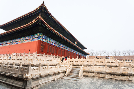 BEIJING, CHINA - MARCH 19, 2017: tourists near Imperial Ancestral Temple (Taimiao, Working Peoples Cultural Palace) in Beijing Imperial city in spring. The first Hall was built in 1420