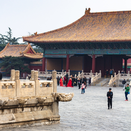BEIJING, CHINA - MARCH 19, 2017: people on courtyard of Imperial Ancestral Temple (Taimiao, Working Peoples Cultural Palace) in Beijing Imperial city in spring. The first Hall was built in 1420 Editorial