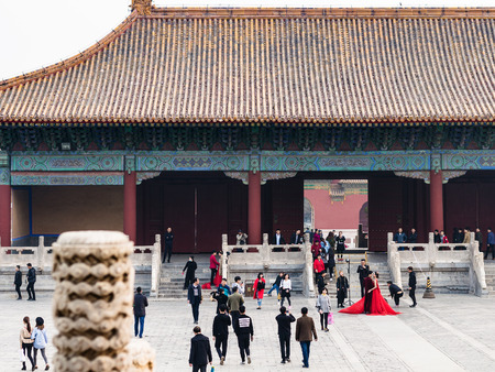 BEIJING, CHINA - MARCH 19, 2017: visitors on court of Imperial Ancestral Temple (Taimiao, Working Peoples Cultural Palace) in Beijing Imperial city in spring. The first Hall was built in 1420